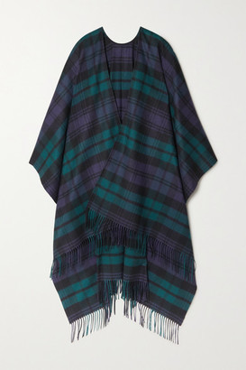 Johnstons of Elgin Fringed Checked Cashmere Wrap - Navy