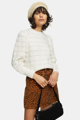 Topshop Womens Oat All Over Pretty Knitted Jumper - Oatmeal