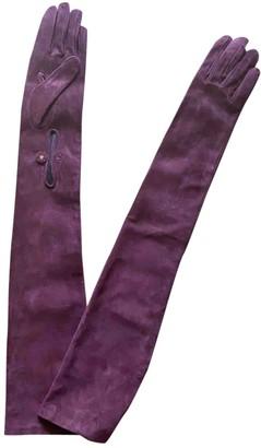 Prada Burgundy Suede Gloves