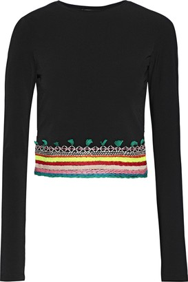 Alice + Olivia Delania Cropped Cutout Embroidered Crepe Top
