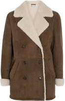 Paul & Joe Double-breasted Shearling Coat - Army green