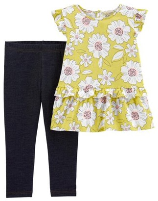 Child of Mine by Carter's Baby Girls and Toddler Girls Sleeveless Floral Top & Leggings, 2-Piece Outfit Set (12M-5T)