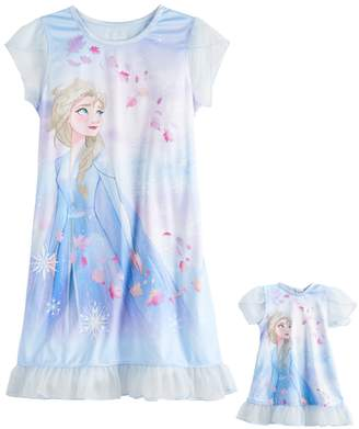 Licensed Character Girls 4-8 Disney's Frozen 2 Elsa Dorm Nightgown & Matching Doll Nightgown Set