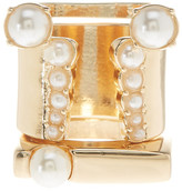 Steve Madden Synthetic Pearl Accented Geometric Ring Set - Set of 3