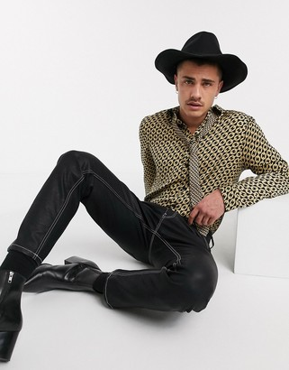 ASOS DESIGN Co-ord regular satin shirt in chain print