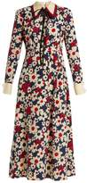 Gucci Butterfly-embroidery floral-print silk-crepe dress