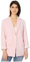 Cupcakes And Cashmere Siri Rolled Sleeve Rayon Blazer w/ Striped Lining (Strawberry Cream) Women's Clothing