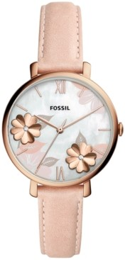 Fossil Women's Jacqueline Playful Floral Pink Leather Strap Watch 36mm