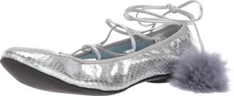 Frances Valentine Women's Gemma Ballet Flat Silver 9.5 B US