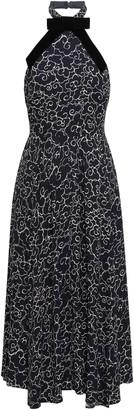 ALEXACHUNG Velvet-trimmed Printed Crepe Halterneck Midi Dress