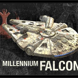 Star Wars Trends International Millennium Falcon Poster, Black Framed Version
