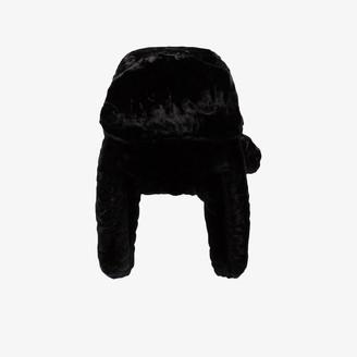 Ruslan Baginskiy black Ushanka faux fur trapper hat