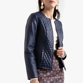 Anne Weyburn Short Quilted Collarless Jacket in Faux Leather with Pockets