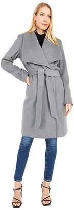 Cole Haan 39 Slick Wool Wrap Coat with Exaggerated Collar (Mid Grey) Women's Clothing