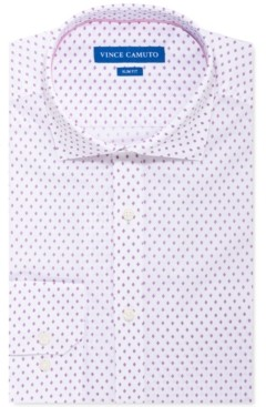 Vince Camuto Men's Slim-Fit Stretch White Pink Diamond Dress Shirt