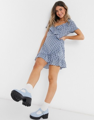 Brave Soul ruffle wrap mini dress in blue polka dot