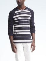 Banana Republic Linen-Stretch Long-Sleeve Stripe Raglan Crew