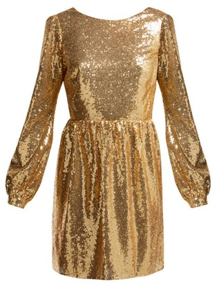 Saloni Camille Sequinned Mini Dress - Gold