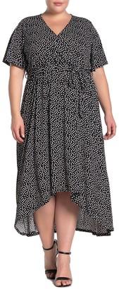 WEST KEI Polka Dot Waist Tie High/Low Hem Midi Dress (Plus Size)