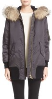 Burberry Women's 'Avonshire' Satin Bomber Jacket With Removable Genuine Fox Fur Trim