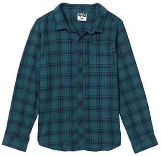 Cotton On Rugged Long Sleeve Shirt (Toddler/Little Kids/Big Kids) (Petrol Teal/Navy Plaid Check) Boy's Clothing