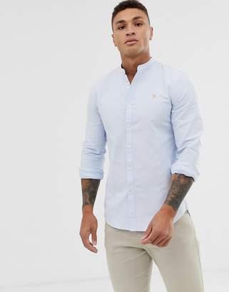 Farah Brewer slim fit grandad collar shirt in sky blue