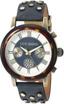 Steve Madden Women's Quartz Gold-Tone Casual Watch, Color:Blue (Model: SMW001AG-NB)