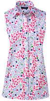 Lands' End Women's Tall Sleeveless No Iron Shirt-White Paisley