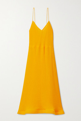 J.W.Anderson Fluted Crinkled Cotton And Silk-blend Voile Midi Dress - Marigold