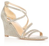 Badgley Mischka Bonanza Glitter Strappy Wedge Sandals