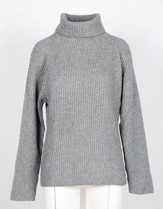 NOW Gray Cashmere and Wool Women's Turtleneck Sweater