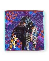 Etro Silk Dog-Print Pocket Square, Blue Multi