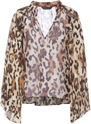 Rachel Zoe Ruffled Leopard-print Chiffon Blouse