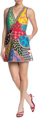 Alice + Olivia Tennie Embellished Printed V-Neck Mini Dress