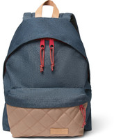 Eastpak Padded Pak'r Leather-trimmed Canvas Backpack - Blue