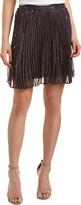 Haute Hippie The Goodnight Pleated Silk-Blend Mini Skirt