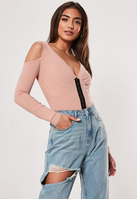 Missguided Pink Corset Detail Cold Shoulder Blouse