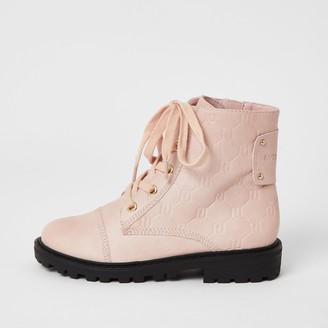 River Island Girls Pink RI monogram lace-up boots