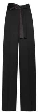 HUGO BOSS Wide Leg Pants In Crepe With Scarf Style Belt - Black