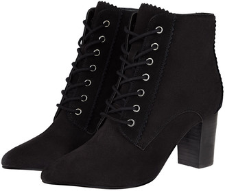 Under Armour Lace-Up Suede Heeled Ankle Boots Black