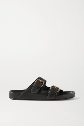 Isabel Marant Lennyo Embellished Leather Slides - Black