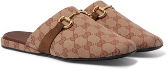 Gucci Pericle Horsebit Suede-Trimmed Monogrammed Canvas Slippers