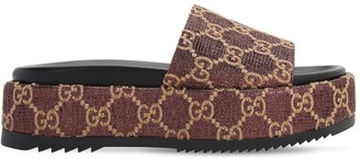 Gucci 60mm Angelina Gg Lame Platform Sandals