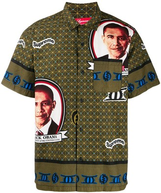 Supreme obama camp collar shirt