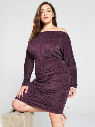 AX Paris Curve Ruched Glitter Midi Dress - Plum