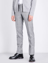 SLOWEAR Prince of Wales checked slim-fit tapered wool trousers