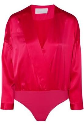 Mason by Michelle Mason Wrap-effect Draped Silk-charmeuse Thong Bodysuit