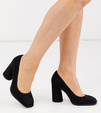 ASOS DESIGN Wide Fit Pinky square toe block heeled pumps in black