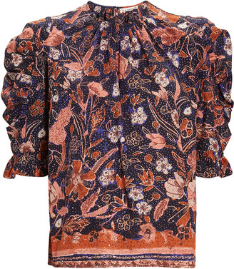 Ulla Johnson Joni Floral Puff Sleeve Blouse