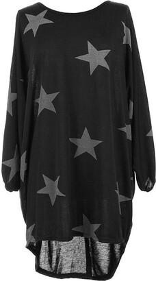 Universal Retail Trade Women Ladies Star Printed Batwing Low Back Plain Baggy Tunic Top Dress Plus Size (UK - S/M (8-10)